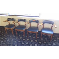 """Qty 4 Mid-Century Wood Chairs 29.5"""" H, Upholstered Vinyl"""