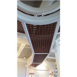 Rectangular Wooden Grid-Pattern Ceiling Panels w/White Trim (grid panels pop out easily)