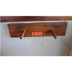 "Qty (3) 2-Peg Wooden Peg Rack 19""L x ""5""H"