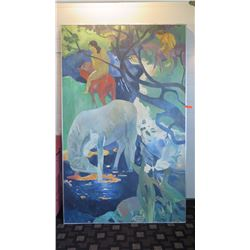 "Framed Canvas Painting: (2 Men Riding Horses) 60""L x ""96""H"