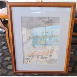 """Framed Watercolor of """"Kincaid's Coveted Table 60"""" - Koa Wood Frame, Artist Unknown  33.5"""" x 28"""""""