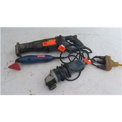 Qty 3 Misc. Bosch and Ryobi Power Tools: Sander, Reciprocating Saw, Grinder