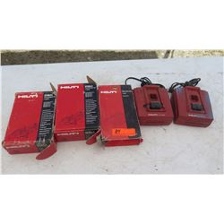 Qty 2 Hilti Battery Chargers & Misc. Hilti Consumables