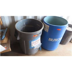 Qty 2 Large Rubberized Garbage/Utility Bins w/Misc. Round Rolling Platforms
