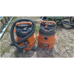 Qty 2 Ridgid Shop Vac / Blower (model WD18510 and model WD14500)
