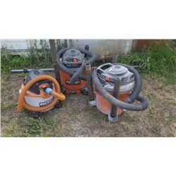 Qty 3 Misc. Ridgid Shop Vacs