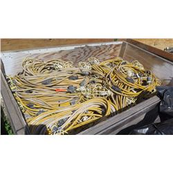 Huge Lot of Extension Cables and Caged-Light Construction Lighting
