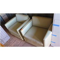 Qty 2 Matching Upholstered Plush Reception Chairs (Club Chairs)