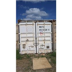 25-Foot Shipping / Storage Container (Contents Not Included Except Attached Shelving)