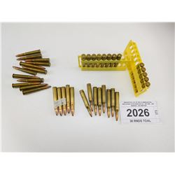 ASSORTED LOT OF RIFLE AMMUNITION, INCLUDING 25-06 WHELEN 35, .300 WIN, .300 SAVAGE, .303 BRITISH