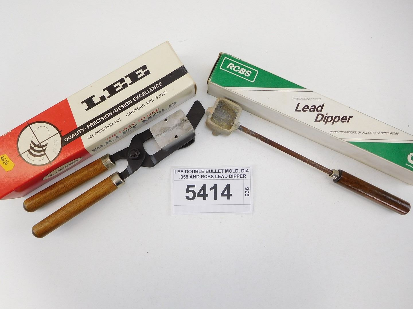 LEE DOUBLE BULLET MOLD, DIA  358 AND RCBS LEAD DIPPER