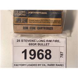 25 STEVENS LONG RIM FIRE, 65GR BULLET