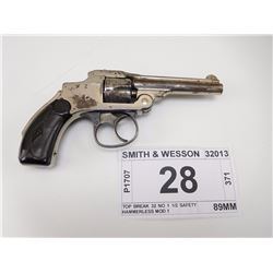 SMITH & WESSON , MODEL: TOP BREAK 32 NO 1 1/2 SAFETY HAMMERLESS MOD 1 , CALIBER: 32 S&W