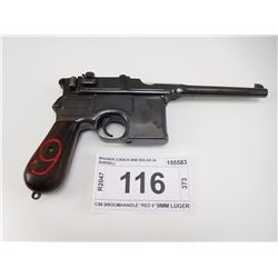 "MAUSER , MODEL: C96 BROOMHANDLE ""RED 9"" , CALIBER: 9MM LUGER"