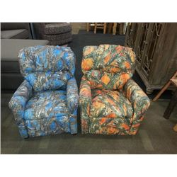Two Childrens Recliners 1 Duck Camo 1 Purple Camo