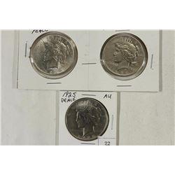 PEACE SILVER DOLLARS 1923 AU, 1924 & 1925 AU