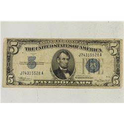 1934-A $5 SILVER CERTIFICATE BLUE SEAL