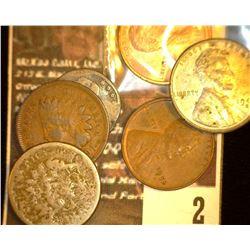 2. 1859 Copper-nickel Poor, 1901 VG Indian Cents; 1943D EF, 52D EF, 88D BU Lincoln Cents; & 18
