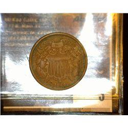 3. 1866 U.S. Two Cent Piece, Fine.
