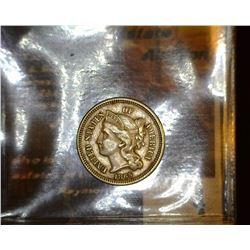 4. 1865 U.S. Civil War Era Three Cent Nickel, Fine.