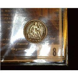 8. 1871 U.S. Seated Liberty Half Dime, Good+.