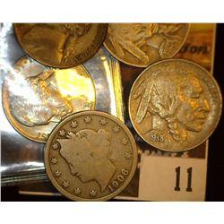 11. 1906 Liberty Nickel, Good; 1913 P Type One Buffalo Nickel, Fine; 1938 D Buffalo Nickel, EF; 1