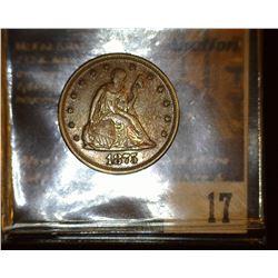 17. 1875 P U.S. Twenty Cent Piece, Full original toned EF. Only 38,500 ever minted. Red Book valu