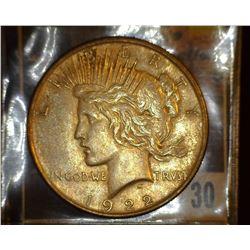 30. 1922 P U.S. Peace Silver Dollar, VF+.