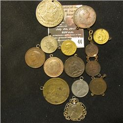 44.    (13) Various World Coins made into Pendants or looped for bracelets dating back to 1813.