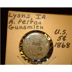 "48.    1868 U.S. Shield Nickel countermarked ""AP JP"" at 90 degree angles to each other. This piece i"