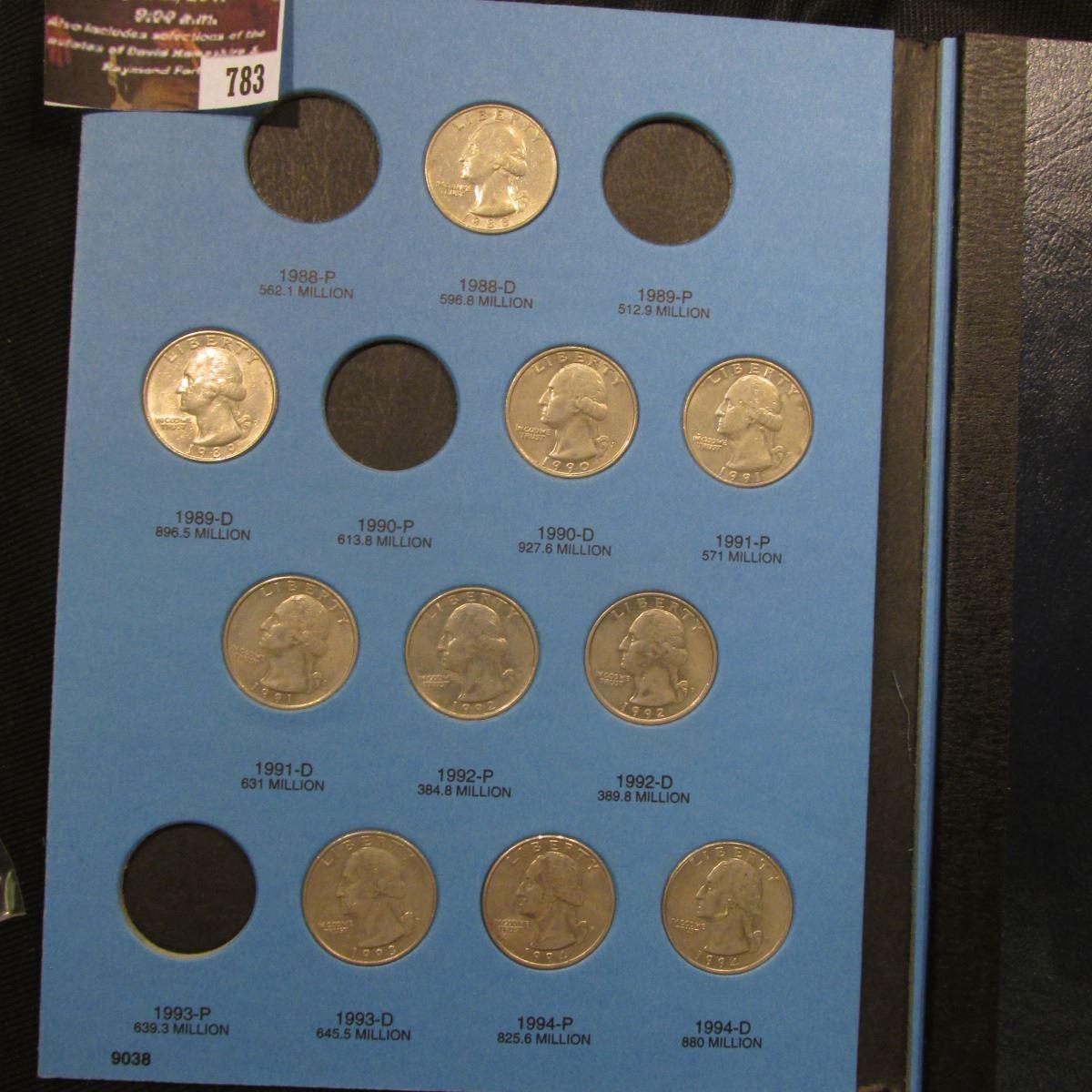 783 1988-98 Partial Set of Washington Quarters in a blue Whitman folder