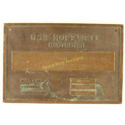 Brass Plate from USS Hopewell
