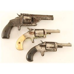 Lot of 3 Antique Spur Trigger Revolvers