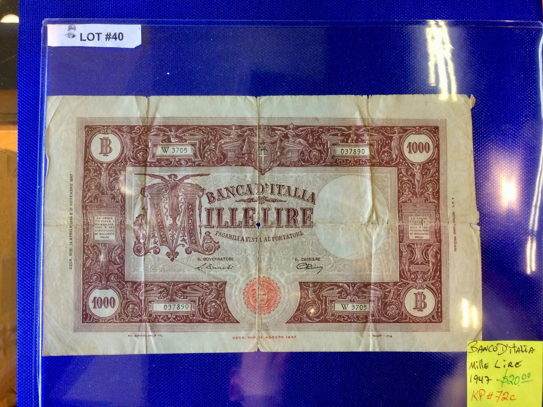 Banca Ditalia Mille Lire 1947 Kp72c