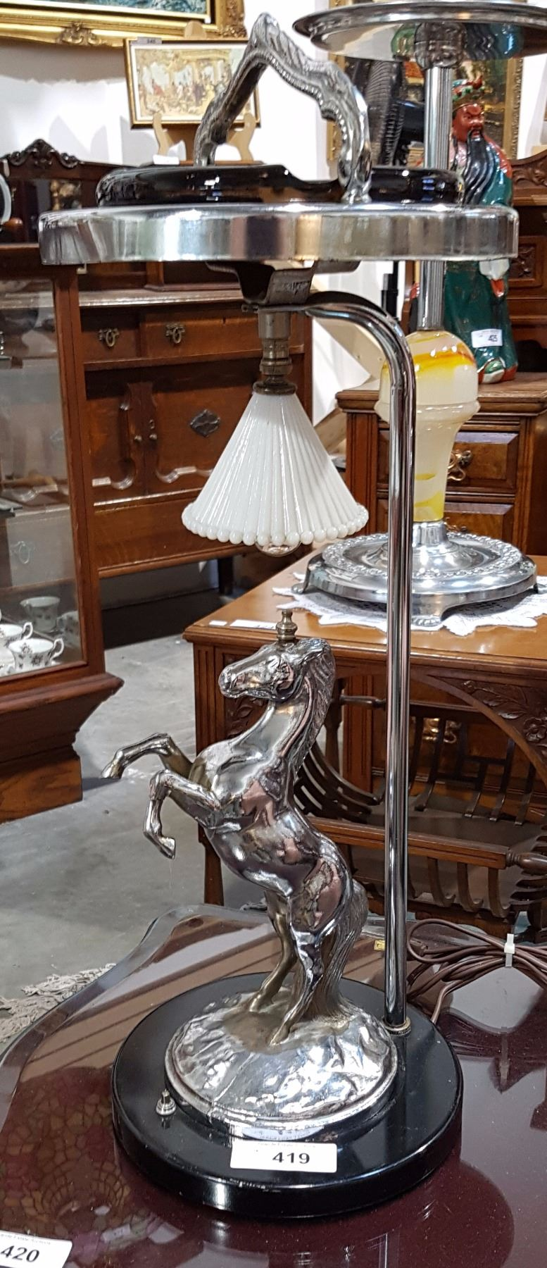 1950 S Chrome Horse Light Up Ashtray Stand