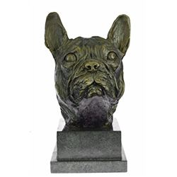 Man Best Friend French Bulldog Bronze Sculpture on Marble