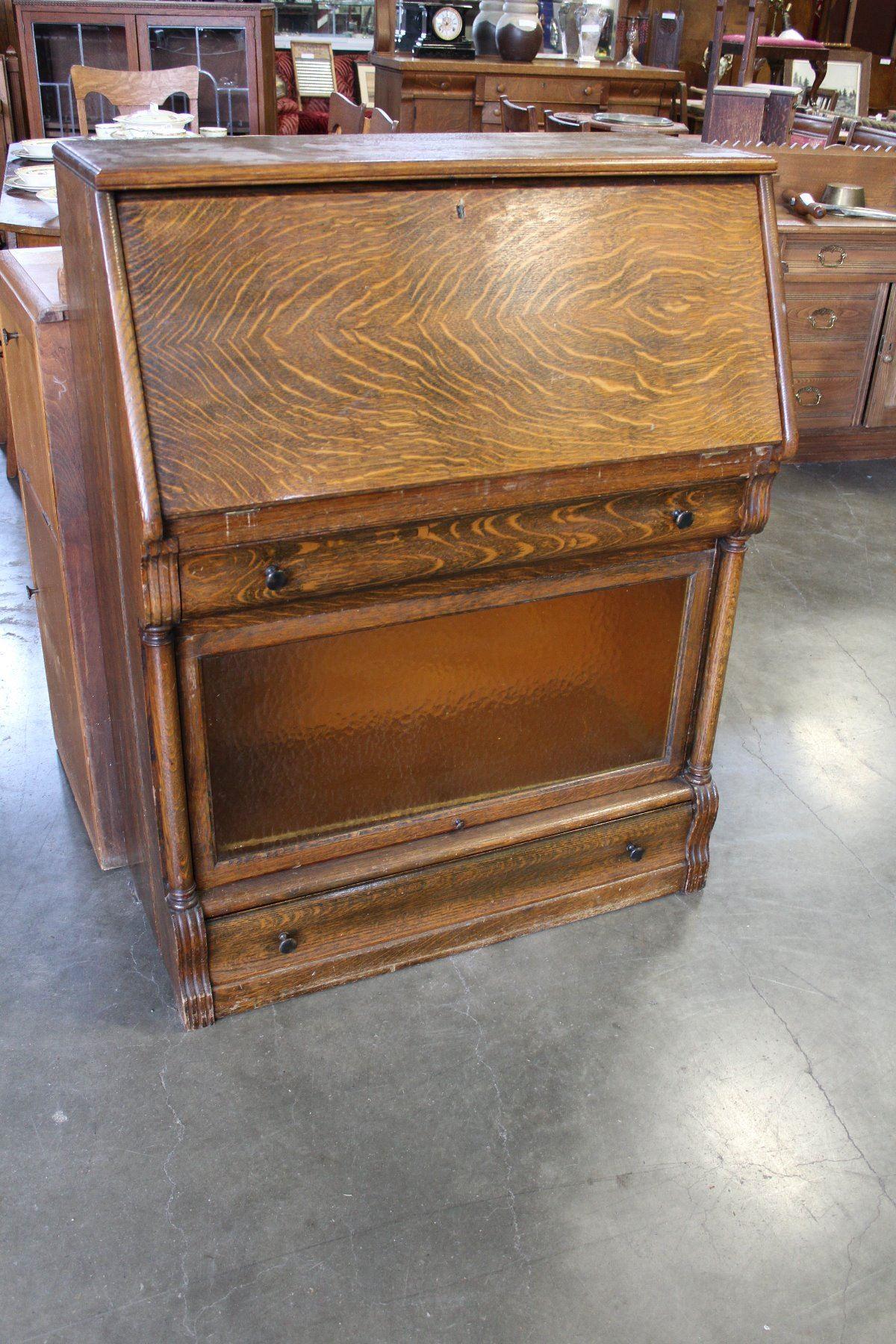 Antique Oak Dropfront Desk With Lawyer Bookcase Base