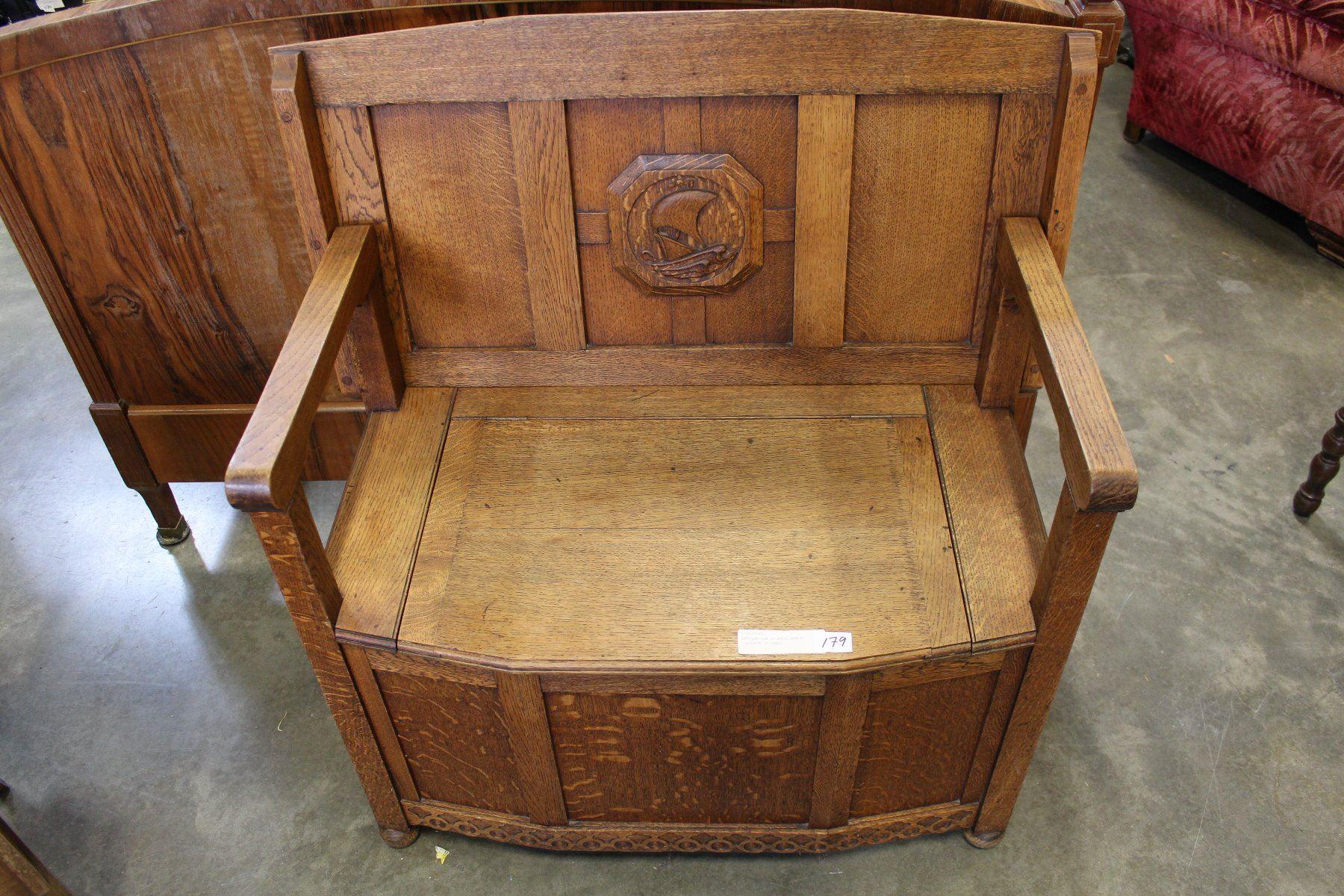 Awe Inspiring Antique Oak Storage Bench Converts To Table Machost Co Dining Chair Design Ideas Machostcouk