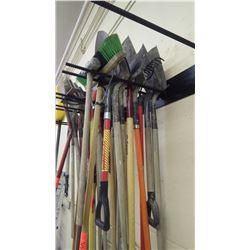 Grouping of various shovels and scraper, Sledge  hammer, rake, broom
