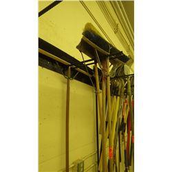 Row of 4 floor brooms
