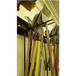 Grouping of scraper/ various shovels / rake / broom / sledge hammer