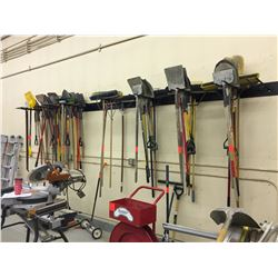 10 place wall mount tool rack, approximately 15' long. The Lot is the racking unit only.