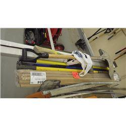 Lot of painters exterior pole / broom handles / axe / aluminum scoop shovel and new aluminum landsca