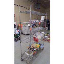 6 shelf S.S. shelving unit on wheels