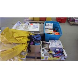 Pallet of assorted safety supplies and 2 eye wash stations, gloves, ear plugs, knee pads, safety gla