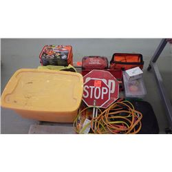 Pallet of safety equipment plus  2 new auto emergency kits, first aid kits, etc