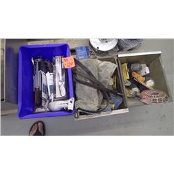 3 boxes of misc knives, keyhole saws, drywall knives, insullation knives, bungee cords plus unused a