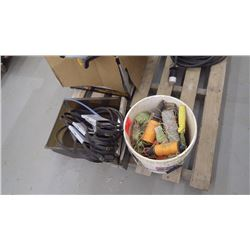 Pail with straight line, masonry line blocks plus approx 13 unused mortar mixer belts