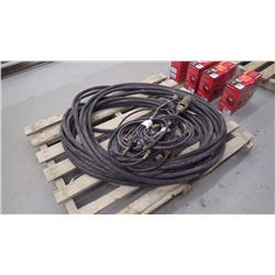 Pallet with 50' 5/8 rubber hose, roofing and tiger torches