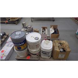 Pallet with misc pails of concrete bonding for concrete repair / concrete cleaner / membrane adhesiv